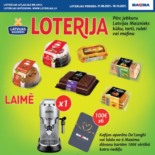 Лотерея в магазинах Maxima - кондитерские изделия от Latvijas Maiznieks
