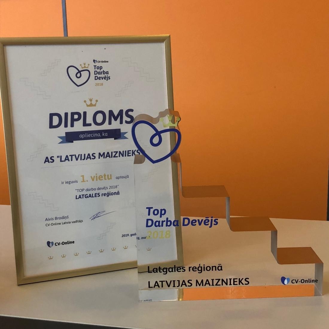"""AS """"LATVIJAS MAIZNIEKS"""" пятый год подряд признан лучшим работодателем в Латгальском регионе."""
