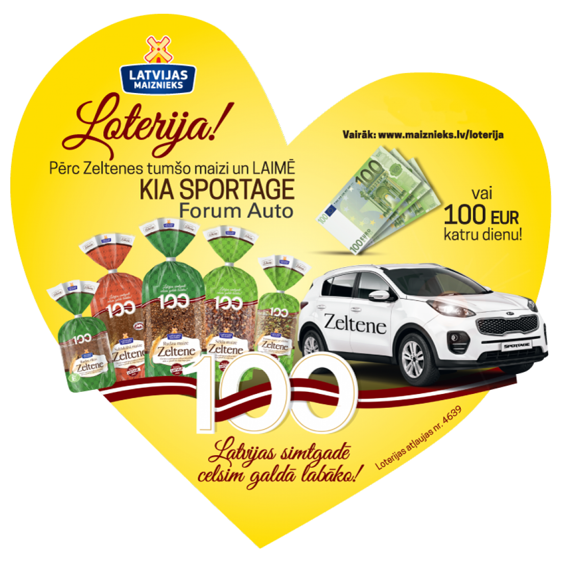 Zeltene лотерея празднуя 100-летие Латвии