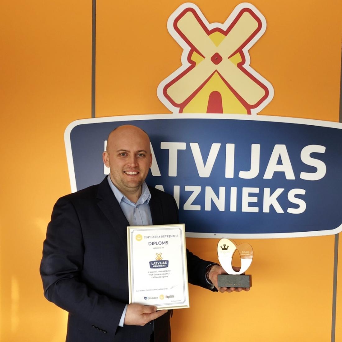 """AS """"LATVIJAS MAIZNIEKS"""" ceturto gadu pēc kārtas atzīts par labāko darba devēju Latgales reģionā"""