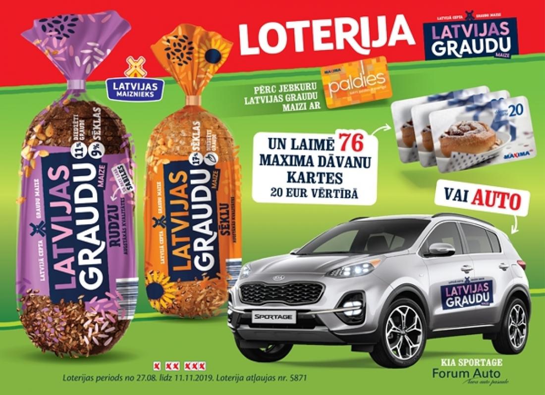 LATVIJAS GRAUDU maizes loterija - pērc ar Paldies karti un laimē automašīnu KIA SPORTAGE