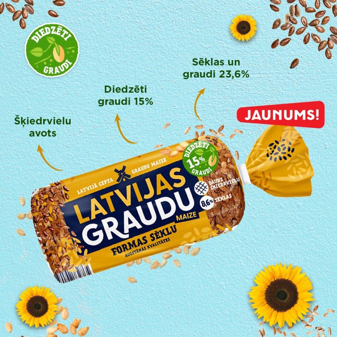 НОВИНКА! Latvijas Graudu формовой хлеб с семечками