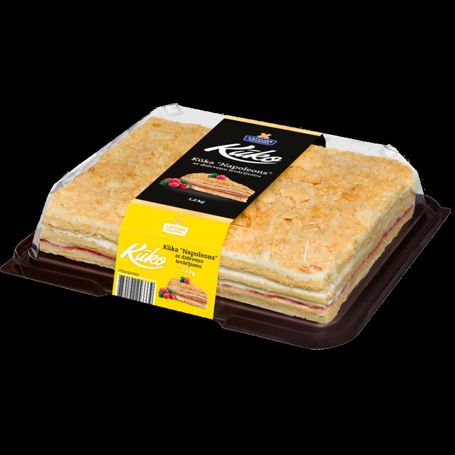 "Napoleon cake ""KŪKO"" with cranberry jam"