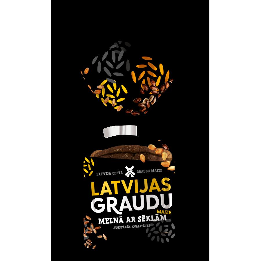 """""""LATVIJAS graudu maize"""" Латвийский чёрный формовой хлеб с семечками"""